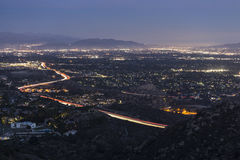 Los Angeles Valley Night. Los Angeles San Fernando Valley at Night Royalty Free Stock Images