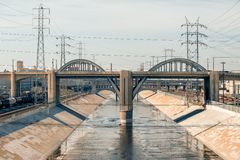 Los Angeles van de binnenstad: 6de Straatbrug Stock Foto