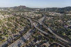 Los Angeles Ventura 101 e scambio EA dell'autostrada senza pedaggio di Hollywood 170 Fotografie Stock