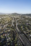 Los Angeles Ventura 101 And Hollywood 170 Freeways Aerial. Vertical aerial view of Ventura 101 Freeway and Hollywood 170 freeways in the San Fernando Valley area Royalty Free Stock Photo