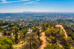 Los Angeles. View of Los Angeles aglomeration (suburs and Downtown) from Griffith Observatory during hot summer day
