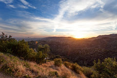 Los Angeles, view from Griffith Park at the Hollywood hills at sunset, southern California Royalty Free Stock Image