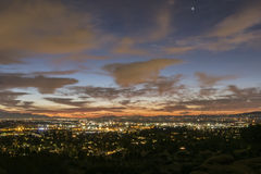 Los Angeles vintersoluppgång Arkivfoton