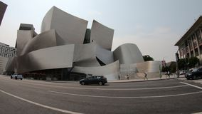 Los Angeles Walt Disney Concert Hall. Los Angeles, California, United States - August 9, 2018: Walt Disney Concert Hall, by Frank Gehry, Grand Avenue on Bunker stock video