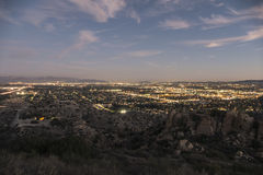 Los Angeles West San Fernando Valley at Dusk. Dusk view of the West San Fernando Valley in Los Angeles, California Stock Photos