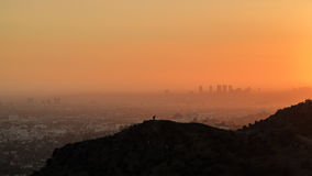 Los Angeles Westwood Sunset Cityscape from Griffith Park Royalty Free Stock Photos