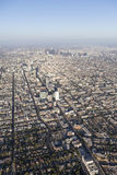 Los Angeles Wilshire Blvd Smoggy Afternoon Aerial Stock Photography