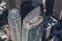 Los Angeles Wilshire Grand Center Construction Aerial Stock Photo
