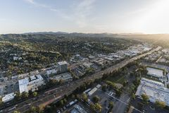 Los Angeles Woodland Hills Ventura 101 Freeway Aerial. Los Angeles, California, USA - April 18, 2018:  Late afternoon aerial view of Ventura 101 Freeway and Stock Photo