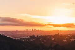 Los- AngelesSkyline am Sonnenuntergang stockfotografie