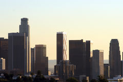 Los Angles skyline. Silhouetted skyline of Los Angles at dusk, California, U.S.A Royalty Free Stock Photography