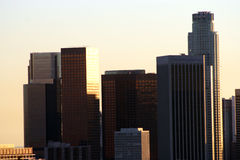 Los Angles skyline. Skycraper skyline of Los Angles city at sunset, California, U.S.A Royalty Free Stock Images