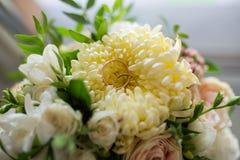 Los anillos de bodas del oro mienten en un brote del crisantemo amarillo Fotografía de archivo