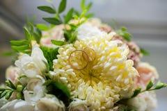 Los anillos de bodas del oro mienten en un brote del crisantemo amarillo Fotografía de archivo libre de regalías