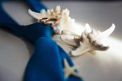Los anillos de bodas mienten esperando la celebración, el lazo y las estrellas de mar fotos de archivo libres de regalías