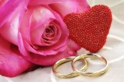 Los anillos de bodas y se levantaron fotos de archivo libres de regalías