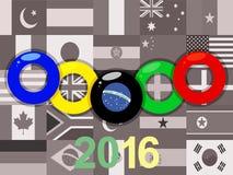 Los anillos de las Olimpiadas en sepia señalan el fondo por medio de una bandera Imagen de archivo