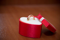 Los anillos en las flores, en una caja, en una tela blanca en los juguetes, colores, casandose los detalles, anillos de bodas Foto de archivo libre de regalías