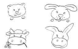 Los animales b/w libre illustration
