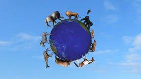 Los animales circundan el globo del mundo stock de ilustración