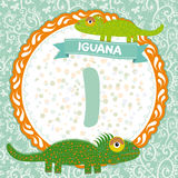 Los animales de ABC I son iguana El alfabeto inglés de los niños Vector Foto de archivo