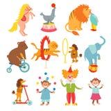 Los animales de circo lindos y la colección divertida de los payasos vector el ejemplo Imágenes de archivo libres de regalías