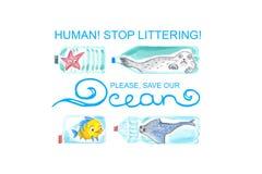 Los animales de mar tristes en botellas plásticas son infelices con la contaminación del océano Ilustraci?n de la acuarela ilustración del vector