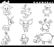 Los animales del campo de la historieta fijaron el libro de colorear Fotografía de archivo libre de regalías