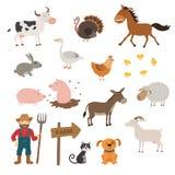 Los animales del campo lindos fijaron en estilo plano aislado en el fondo blanco Animales del campo de la historieta Imágenes de archivo libres de regalías