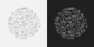 Los animales del parque zoológico resumen el ejemplo del vector libre illustration