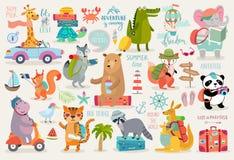 Los animales del viaje dan estilo exhausto, caligrafía y otros elementos libre illustration