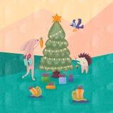 Los animales divertidos celebran Año Nuevo en el bosque fotos de archivo