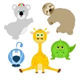 Los animales en historieta diseñan aislado en el fondo blanco Stock de ilustración