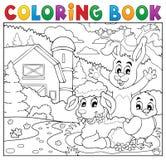 Los animales felices del libro de colorear acercan a la granja Fotos de archivo libres de regalías