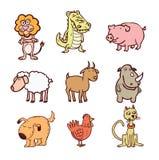 Los animales fijaron el icono, ejemplo del vector Imagen de archivo