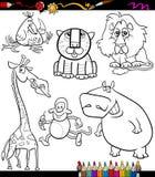 Los animales fijaron el libro de colorear de la historieta Fotografía de archivo