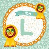Los animales L de ABC son león El alfabeto inglés de los niños Vector Fotos de archivo