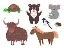 Los animales salvajes de la historieta aislaron la colección de las etiquetas engomadas ilustración del vector