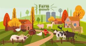 Los animales y los pájaros del campo fijaron en estilo lindo de moda, incluyendo caballo, vaca, burro, oveja, cabra, cerdo, conej stock de ilustración
