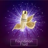 Los anuncios atractivos de la fundación, la botella de cristal con la fundación y la fundación salpica, los anuncios elegantes pa stock de ilustración