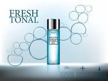 Los anuncios cosméticos, cosmético superior 3d embotellan el gel con las burbujas del agua en fondo superficial azul abstracto Fotos de archivo libres de regalías