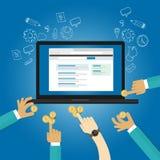 Los anuncios que hacen una oferta publicidad online pagan tiempo real por la donación de la contribución del pago de la opinión d stock de ilustración