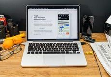 Los Apple Computer en los últimos avisos de WWDC de la manzana trazan en la Imagen de archivo