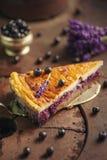 Los arándanos y el pastel de queso del lavander sirvieron en el horno con las bayas y las flores, aún vida para la pastelería, to Fotos de archivo