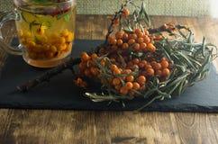 Los arbustos espino amarillos y una bebida de soportes del espino cerval de mar en una pizarra suben Imagen de archivo