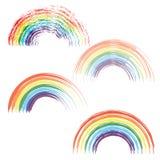Los arco iris en sistema realista de diversa forma en fondo transparente aislaron vector ilustración del vector