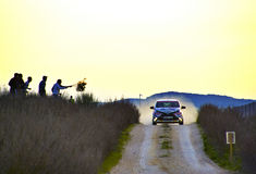 Los Arcos, Ισπανία - 27 Μαρτίου 2015: Το επιταχυνόμενο Volkswagen στο Los στοκ εικόνες με δικαίωμα ελεύθερης χρήσης