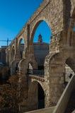 Los Arcos aqueduct in old town. Teruel, Aragon Stock Photo