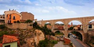 Los Arcos aqueduct in summer. Teruel Royalty Free Stock Photos