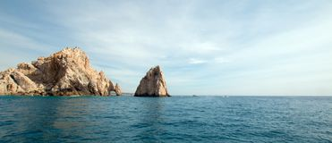 Los Arcos / The Arch at Lands End as seen from the Pacific Ocean at Cabo San Lucas in Baja California Mexico. BCS Stock Image